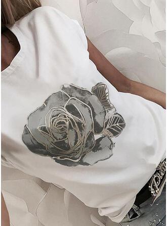 Floral Imprimeu Guler Rotund Mâneci Scurte Tişörtler