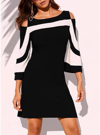 Striped 3/4 Sleeves/Cold Shoulder Sleeve Sheath Above Knee Casual/Elegant Dresses