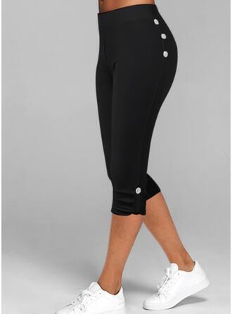Pevný Capris Neformální Plus velikost Knoflík Kalhoty