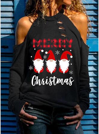 Print Figuur Cold Shoulder Lange Mouwen Kerstmis Overhemd
