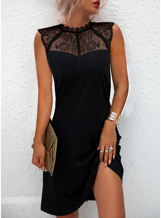 Solid Dantel Kolsuz Shift Elbiseleri Deasupra Genunchiului Negre/Zarif Elbiseler