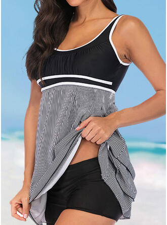 Stripe Strap U-Neck Vintage Classic Swimdresses Swimsuits