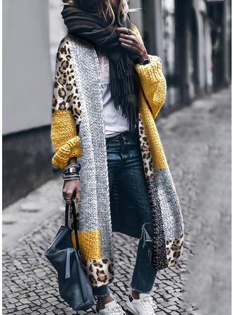 Renk Bloğu leopárd Neformální Dlouhé Propínací Svetr