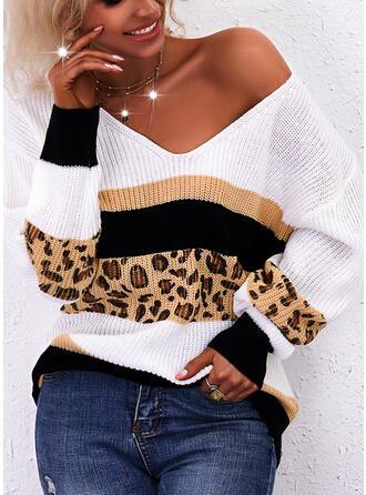 Estampado Colorido Leopardo Decote em V Casual Suéteres