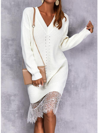 Solid Dantel Mâneci Lungi Omuz Shift Elbiseleri Până la Genunchi gündelik Pulover Elbiseler