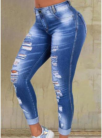 Pevný džínovina Dlouho Neformální Plus velikost hlubokým výstřihem Bandáž Kalhoty Denim & Džíny