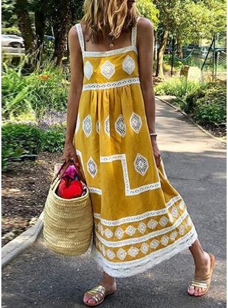 Splice color Geometric Strap Bohemian Plus Size Casual Cover-ups Swimsuits