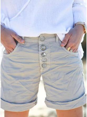 Pevný Nad kolenem Neformální Plus velikost hlubokým výstřihem patch Knoflík Kalhoty Šortky