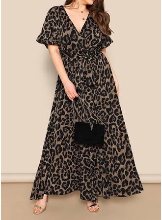 Plus Size Leopard Short Sleeves A-line Maxi Casual Dress