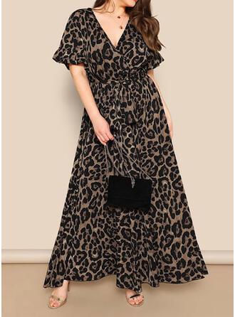 Pluss størrelse Leopard Kortermer A-line kjole Maxi Avslappet Kle