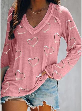 Impresión Corazón Cuello en V Manga Larga Casual Camisetas
