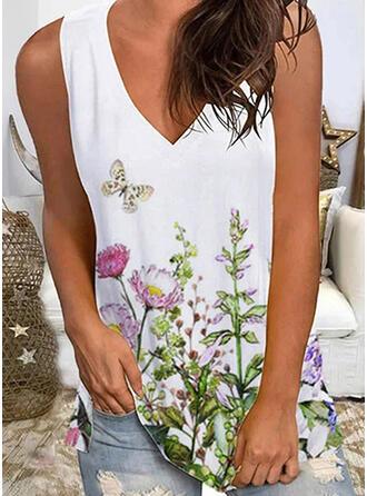 Floral Print Animal V-Neck Sleeveless Tank Tops