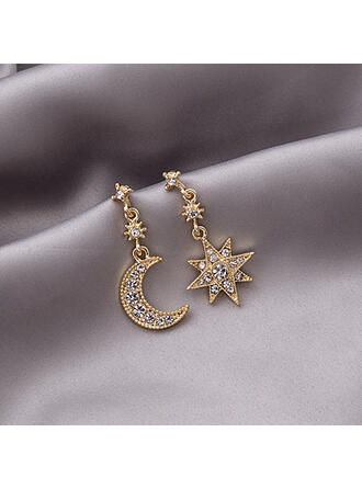 Stars Alloy Rhinestones With Star Women's Earrings 2 PCS