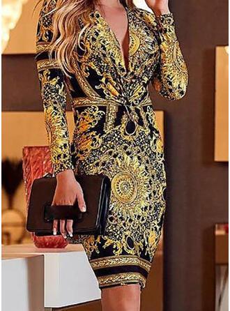Print Long Sleeves Bodycon Knee Length Casual Dresses
