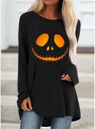 Halloween Imprimé Col Rond Manches Longues T-shirts