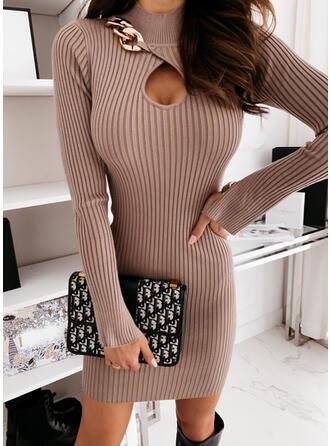 Einfarbig Stehkragen Freizeit Lang Eng Pulloverkleid