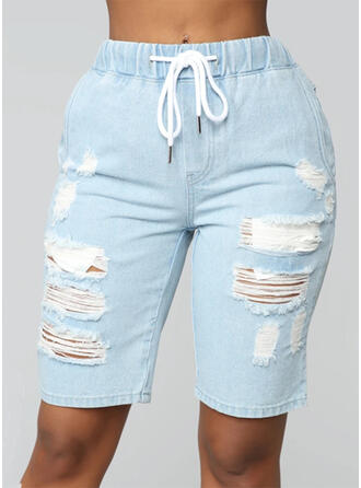 Pockets Shirred Above Knee Casual Skinny Shorts