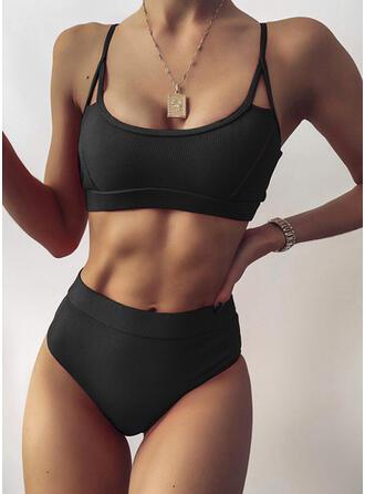 Jednolity kolor W prążki Dekolt w kształcie litery U Seksowny Bikini Stroje kąpielowe