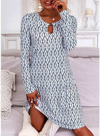 Imprimeu Mâneci Lungi Shift Elbiseleri Deasupra Genunchiului gündelik Tunică Elbiseler