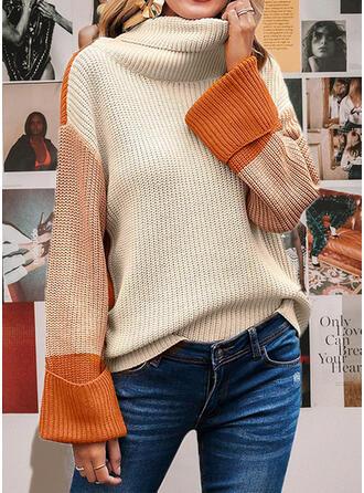 Colorido Gola Alta Casual Suéteres