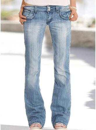 Pockets Plus Size Long Plain Denim & Jeans