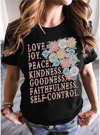 Figura Kwiatowy Nadruk Okrągły dekolt Krótkie rękawy T-shirty