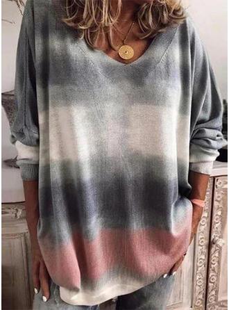 Tie Dye Dekolt w kształcie litery V Długie rękawy T-shirty