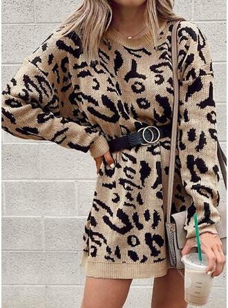 Leopard Rund hals Casual Sweaterkjole