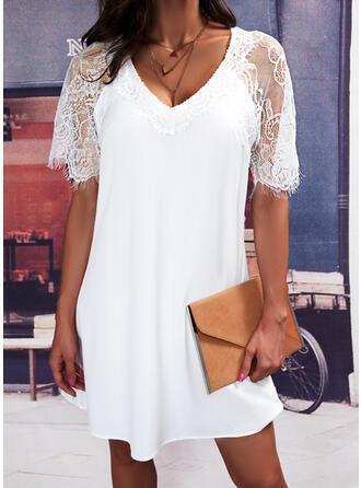 кружевной С коротким рукавом Прямые платья Длина колена элегантный Платья