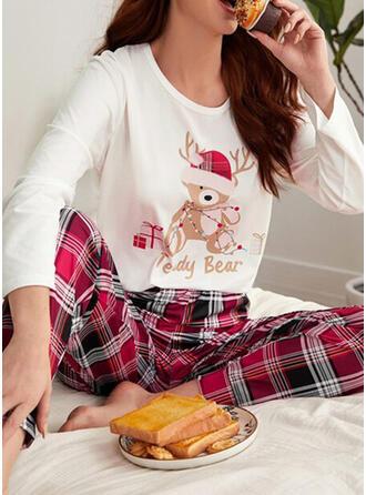 Ушные затычки Длинные рукова Плед рождество Пижамный комплект