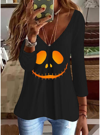 Halloween Imprimé Col V Manches 3/4 T-shirts