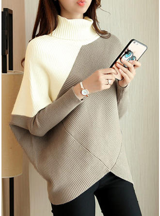 Geblockte Farben Rollkragen Pulloverkleid