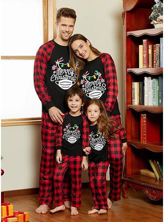 Plaid Letter Print Familie matchende Jule Pyjamas