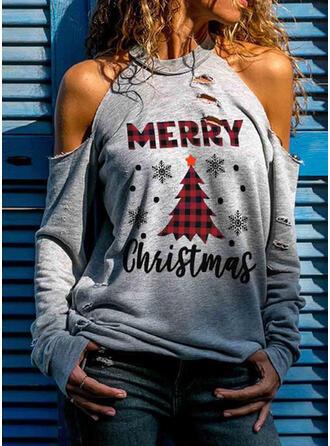 Распечатать Фигура Холодный прием Длинные рукова Повседневная рождество Блузы