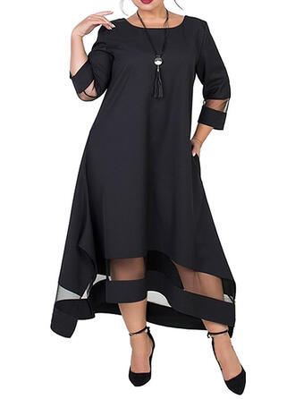 Plus Size Solid 3/4 Sleeves Shift Midi Casual Elegant Dress