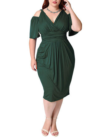 Plus Size Solid 1/2 Sleeves Cold Shoulder Sleeve Bodycon Midi Casual Elegant Dress
