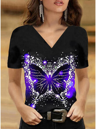 Print Butterfly V-Neck Short Sleeves T-shirts