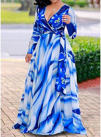 Große Größen Druck Lange Ärmel A-Linien-Kleid Maxi Lässige Kleidung Urlaub Kleid
