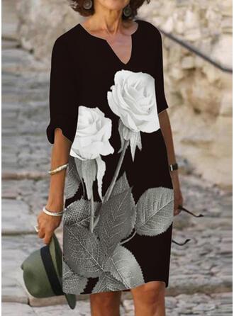 Распечатать/Цветочный 1/2 рукава Прямые платья Длина колена Повседневная Платья