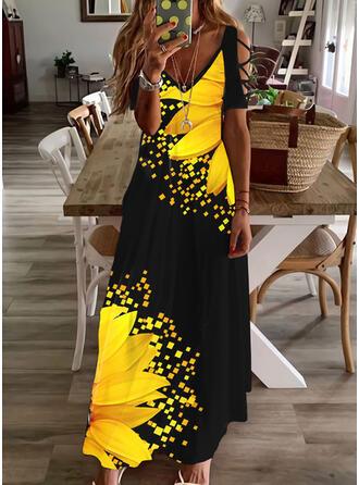 Imprimeu/Floral Mâneci Scurte Soğuk omuz kılıfı Shift Elbiseleri gündelik/Tatil Maxi Elbiseler