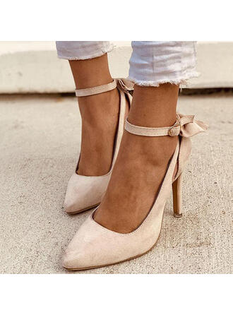 Mulheres PU Salto agulha Bombas com Bowknot Fivela Cor sólida sapatos