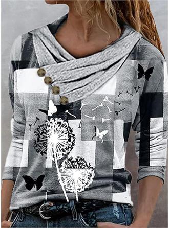 Renkli klişe Karahindiba Imprimeu kelebek Decolteu în V Mâneci Lungi Tişörtler