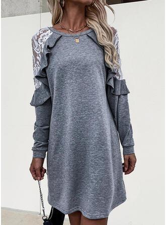 Solid Dantel Mâneci Lungi Shift Elbiseleri Deasupra Genunchiului gündelik Tunică Elbiseler