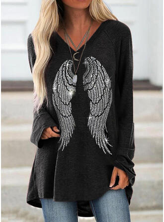 Sequins V-Neck Long Sleeves T-shirts