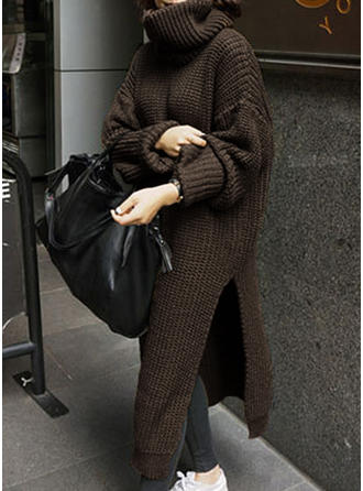 Solid Chunky knit Turtleneck Oversized Casual Long Sweater Dress