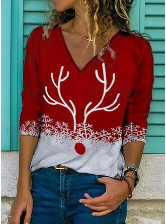 Print V-hals Lange Mouwen Casual Kerstmis Overhemd