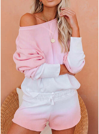 Color Block Casual Sporty Shirred Drawstring Pants Two-Piece Outfits