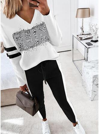 Brev Rand Print Fritids Extra stor storlek blus & Tvådelade kläder uppsättning
