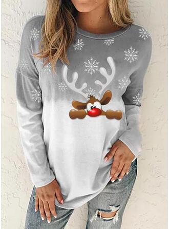 Рисунок животного Tie Dye Шею Длинные рукова Рождественская толстовка