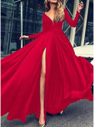 Jednolita Długie rękawy W kształcie litery A Łyżwiaż Przyjęcie Maxi Sukienki